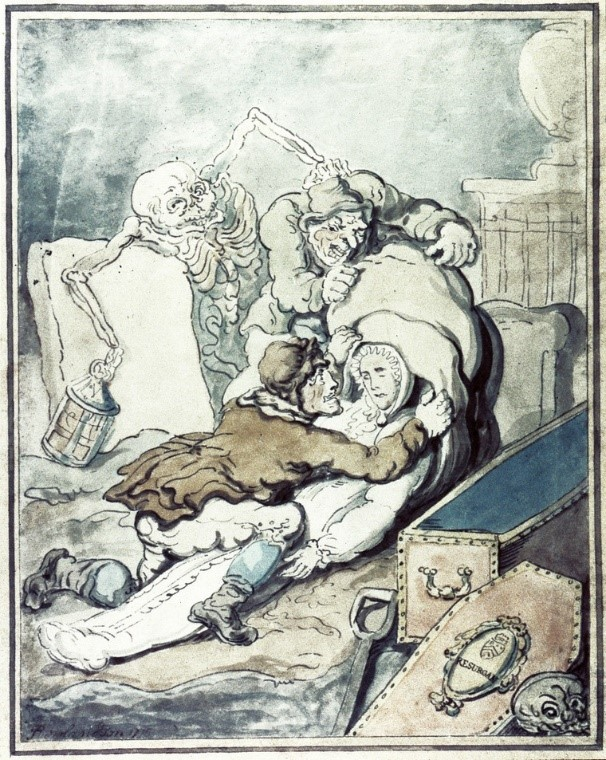 'Two men placing the shrouded corpse which they have just disinterred into a sack while Death, as a nightwatchman holding a lantern, grabs one of the grave-robbers from behind' by Thomas Rowlandson (1775). Credit: Wellcome Collection. CC BY.