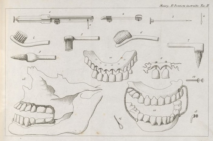 Illustration of dental prostheses, brushes and instruments. From 'Il dentista istruito che insegna ...' J C F Maury, 1834. Wellcome Collection. CC BY.