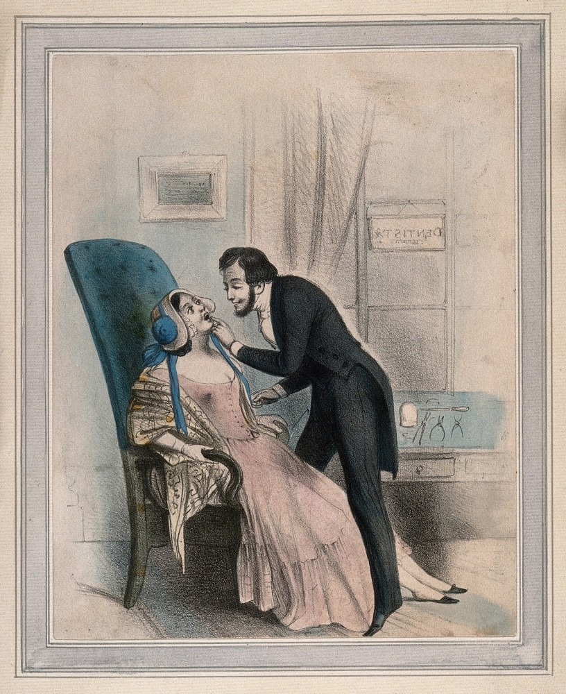 A dentist looking at the tooth of a female patient. Coloured lithograph. Wellcome Collection. CC BY.