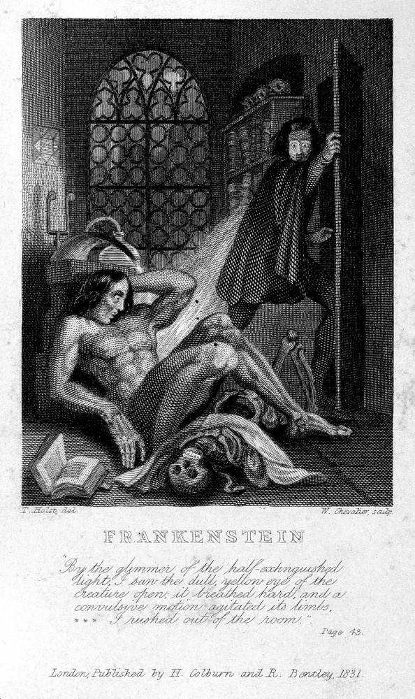 Frankenstein observing the first stirrings of his creature. Engraving by W. Chevalier after Th. von Holst, 1831. Credit: Wellcome Collection.