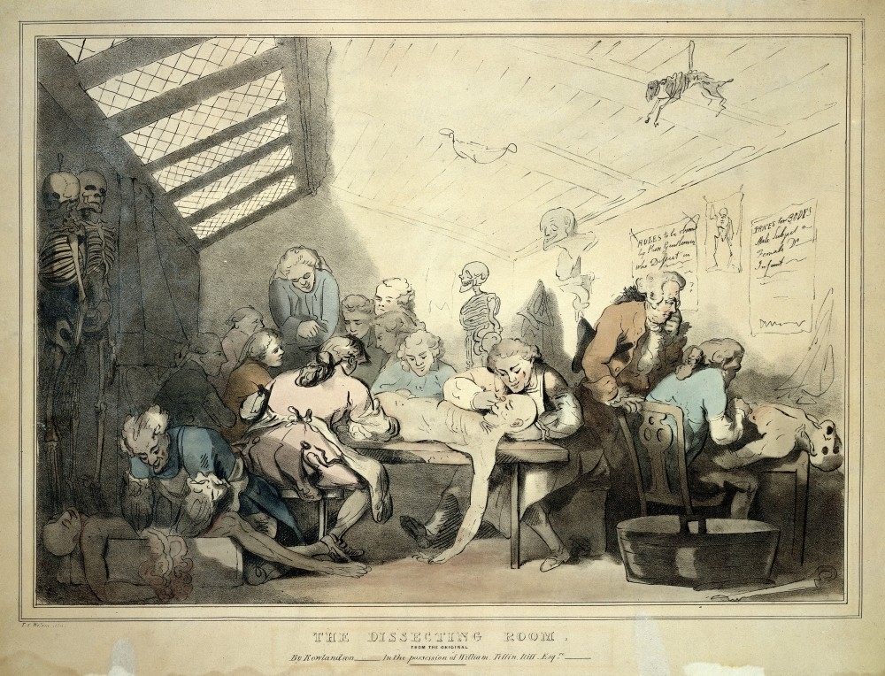Three anatomical dissections taking place in an attic. Coloured lithograph by T. C. Wilson after a pen and wash drawing by T. Rowlandson. Credit: Wellcome Collection. CC BY. Note the overcrowding in the space and the advanced state of decay of the corpse on the right.