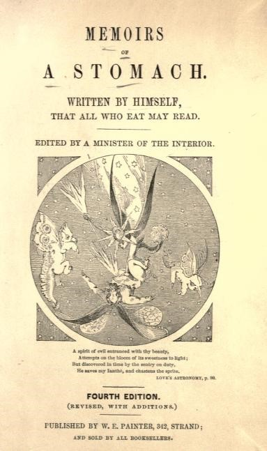 Title-page from the fourth edition of Memoirs of a Stomach (1875)