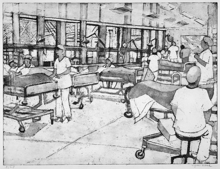 The recovery room, in which patients recover from a surgical operation. Soft-ground etching and aquatint by Virginia Powell, ca. 1995. Credit: Wellcome Collection (CC BY 4.0)