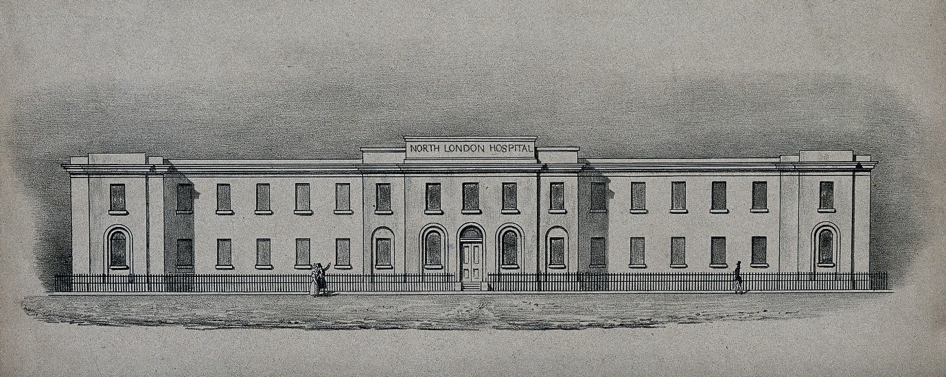 North London Hospital, facade. Lithograph (c. 1834). Wellcome Images.