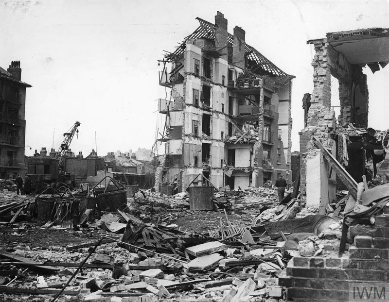 Ruined flats in Limehouse, East London, 1945. Credit: Imperial War Museum (© IWM HU 88803)