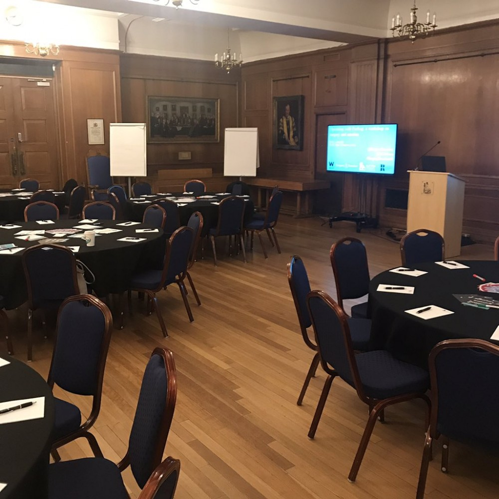 Setting up at the Royal College ahead of our workshop.