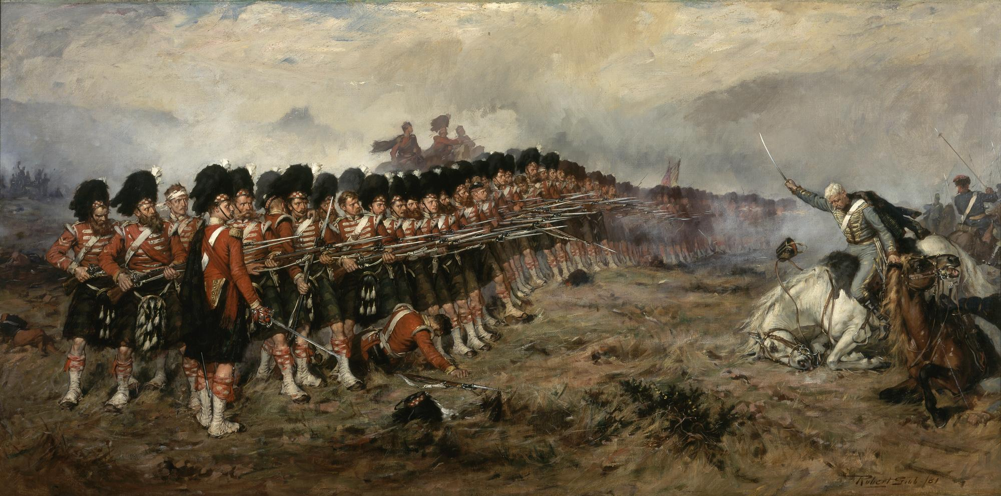 Robert Gibb – The Thin Red Line (1881). Paintings like this reflected the cult of the Highland soldier as an imperturbable hero, capable of undergoing extraordinary pain without complaint.(Wikicommons.)
