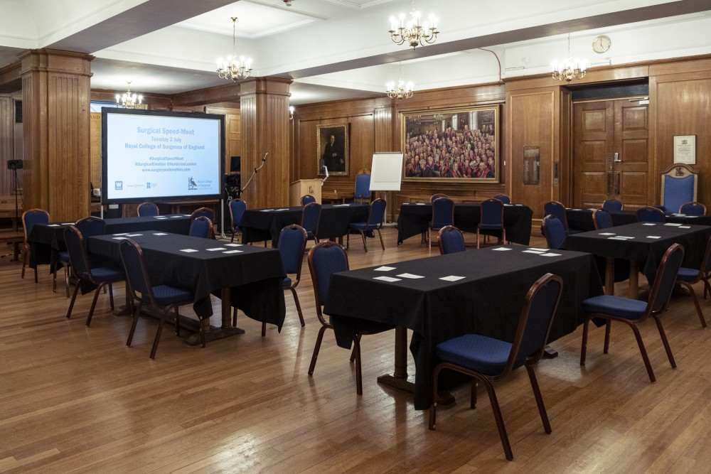 Setting the stage for the speed-meet at the Royal College of Surgeons. (Photo: Ameena Rojee.)