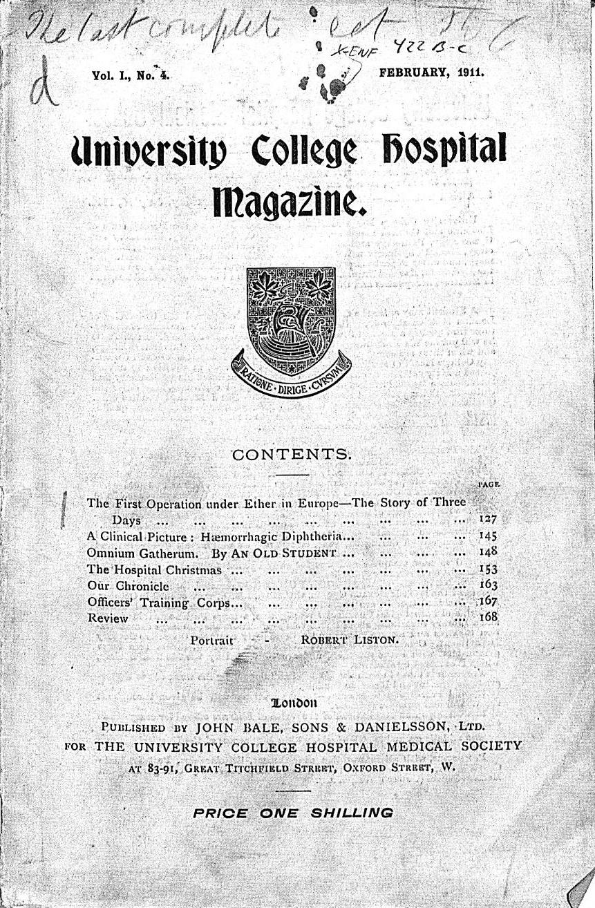 University College Hospital Magazine (February 1911)