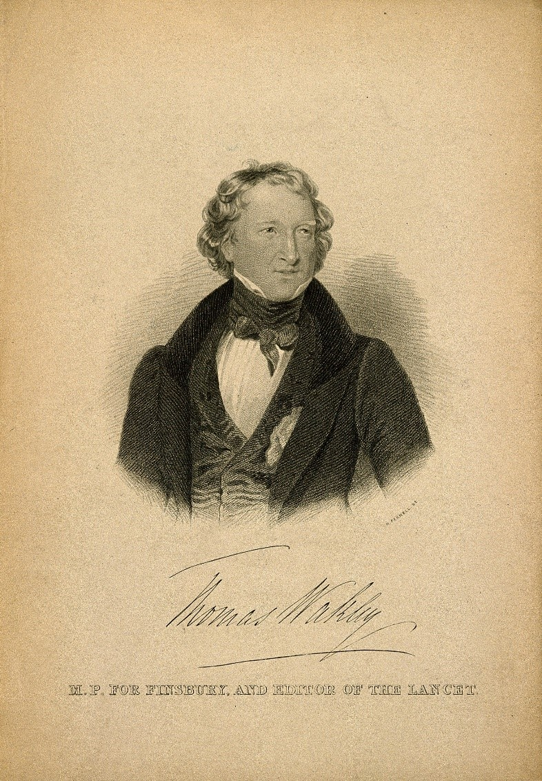 Thomas Wakley. Stipple engraving by M. Fernell (1835) after J.K. Meadows. Wellcome Images.