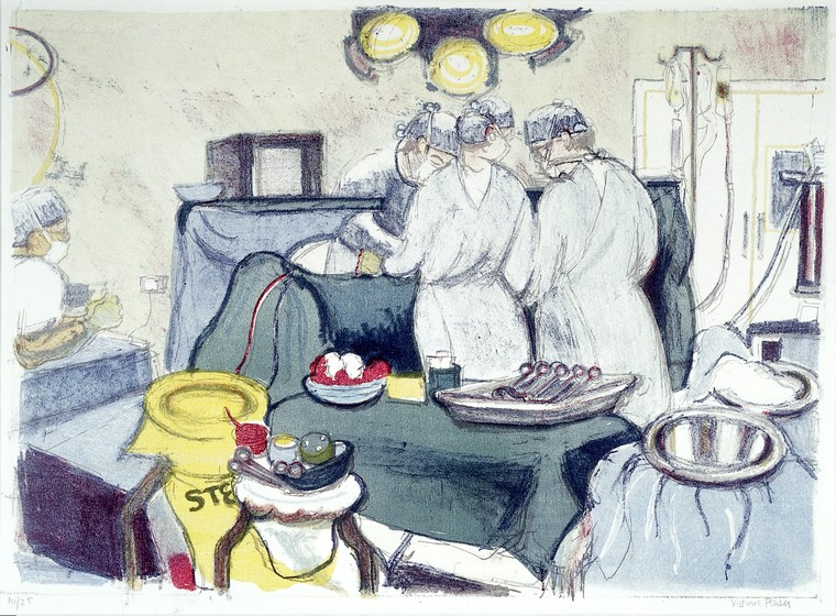 A gynaecological operation. Colour lithograph by Virginia Powell, ca. 1995. Credit: Wellcome Collection (CC BY 4.0).