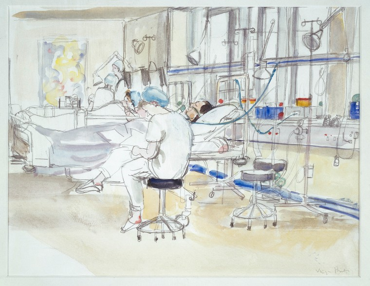 A nurse monitoring a patient after an operation and taking notes. Drawing by Virginia Powell, ca. 1995. Credit: Wellcome Collection (CC BY 4.0).